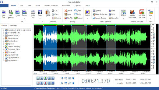 Audio editing for windows.